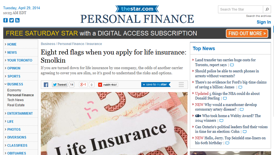Eight red flags when you apply for life insurance Smolkin  Toronto Star 2014 04 29 16 36 32