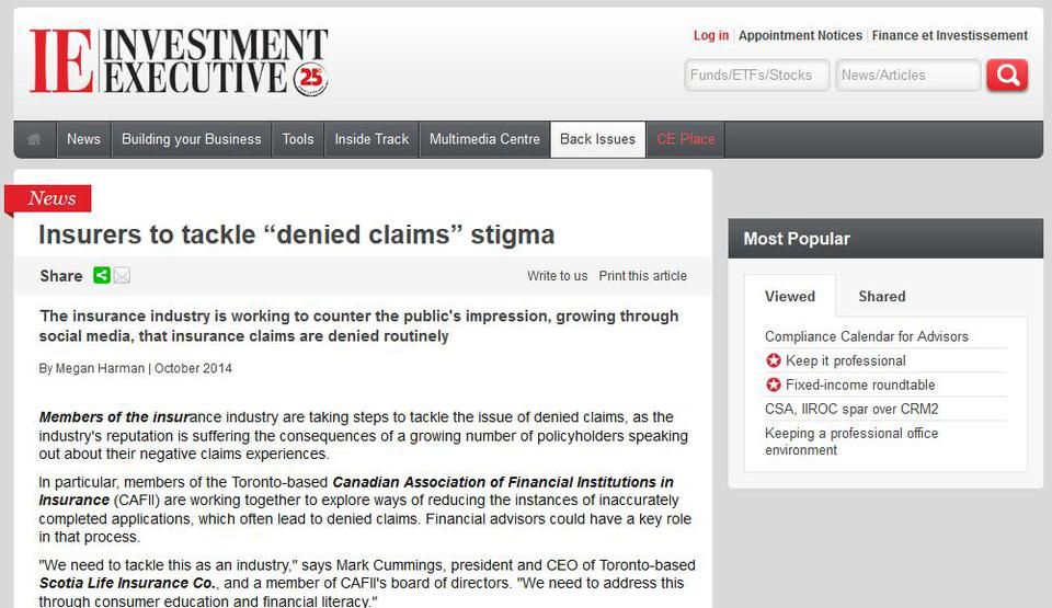 Insurers to tackle denied claims stigma  Investment Executive