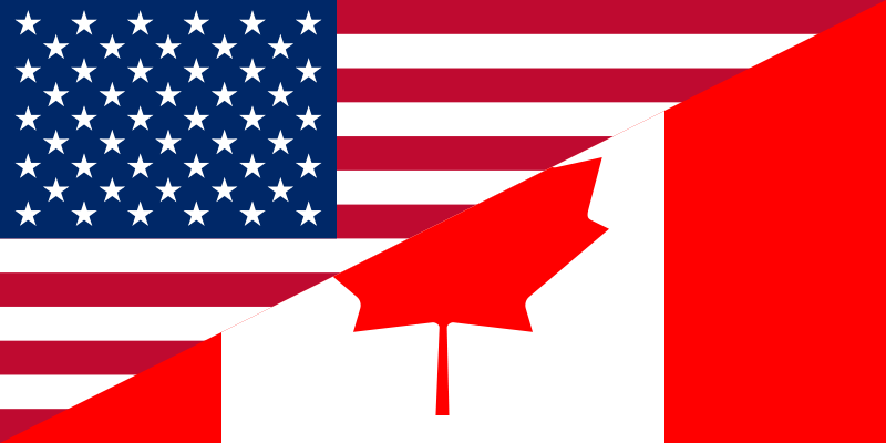 canada and united states flag
