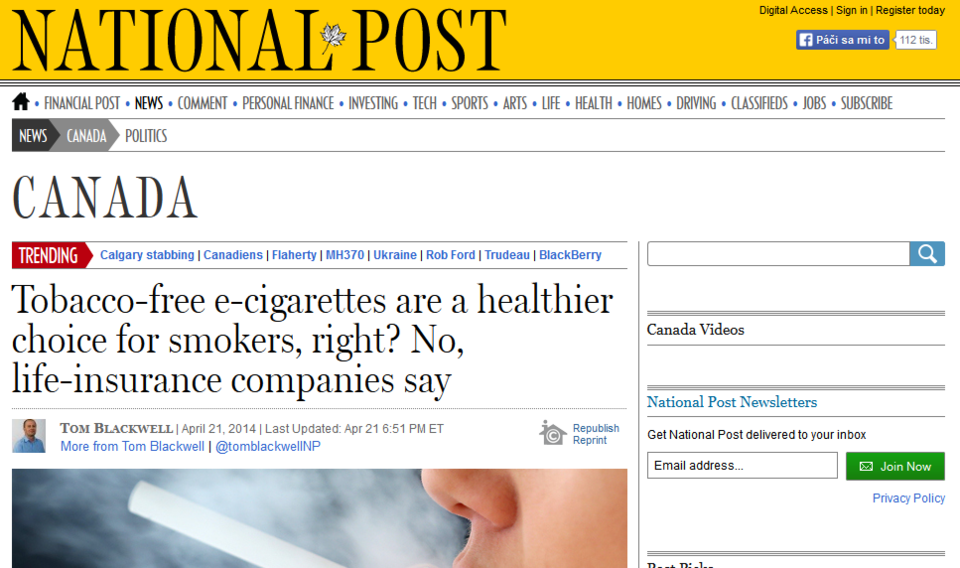 Tobacco free e cigarettes are a healthier choice for smokers right No life insurance companies say  National Post 2014 04 23 10 46 58