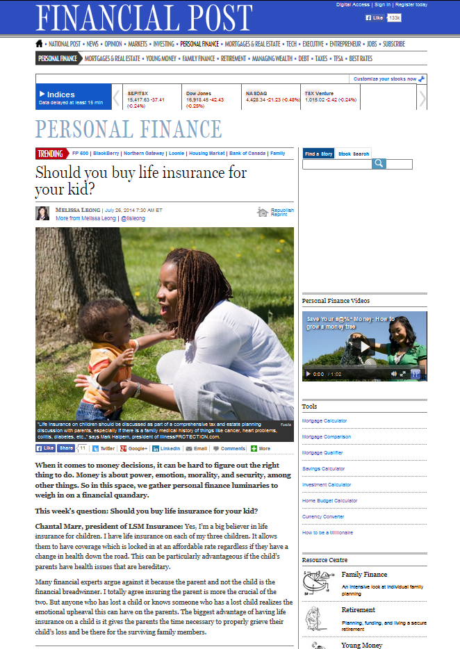 Chantal Marr Quoted in Financial Post Insurance For Children